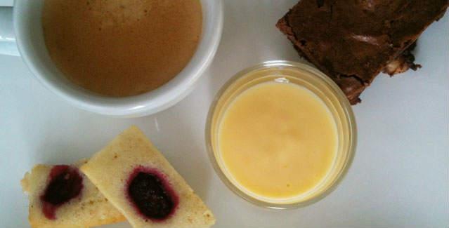 Caf gourmand brownies cr me anglaise et financier feuille de choux - Recette de mini dessert gourmand ...
