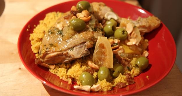 Poulet ensoleillé aux olives, citrons, cajou 1