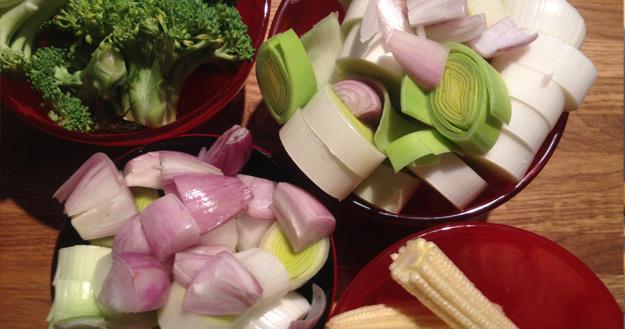 Wok de légumes - Feuille de choux