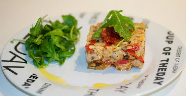 Risotto poulet chorizon et poivrons, recette Feuille de choux