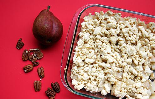 Dessert sans sucre: crumble poire amande